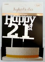 31819558 CAKE TOPPER HAPPY 21ST 18X24CM EACH R36