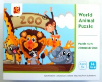 38405013 WORLD ANIMAL PUZZLE ZOO 24PCS LL501 EACH R26