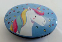 57301419 (2) IRON TIN UNICORN WITH LID OVAL 9X6X3CM E R24