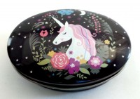 57301419 IRON TIN UNICORN WITH LID OVAL 9X6X3CM E R243