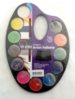 61821125 ARTIST PALLETTE GLITTER 12COLOURS TRAY R36