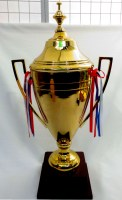 61912717 TROPHY CUP WITH RIBBON (L) H83CM19X19CM R745