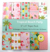 67608836 PAPER PACK TROPICAL BEACH PARTY 6X6 20S R44