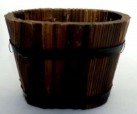 97801931 WOODEN FLOWER POT OVAL SHAPE 14X9.5CM EA R488